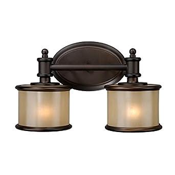Vaxcel USA CRVLU002NB Carlisle 2 Light Bathroom Vanity Lighting Fixture in Bronze, Glass