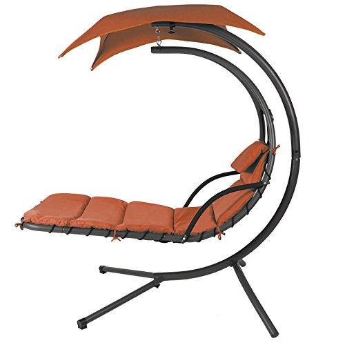 Hammock Chair Hanging Chaise Lounger Chair Arc Stand Air Porch Swing Hammock Chair Canopy (Orange)