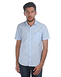 Oxemberg Men's Solid Sports 100% Cotton Sky Blue Shirt