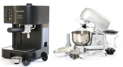 PACKAGE DEAL Kitchen Powerful 3 in 1 FOOD STAND MIXER INC Blender,Meat Grinder 5L in SILVER, Most POWERFUL 1200W + Charles Jacobs 15 Bar Pump COFFEE - ESPRESSO Italian Style MACHINE in Black by Charles Jacobs