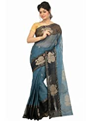 Utsav Fashion Teal Blue Bengal Handloom Tangail Cotton Saree with Blouse