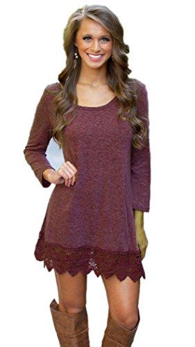 MiYang Women's Purple Long Sleeve A-line Lace Stitching Trim Casual Dress S