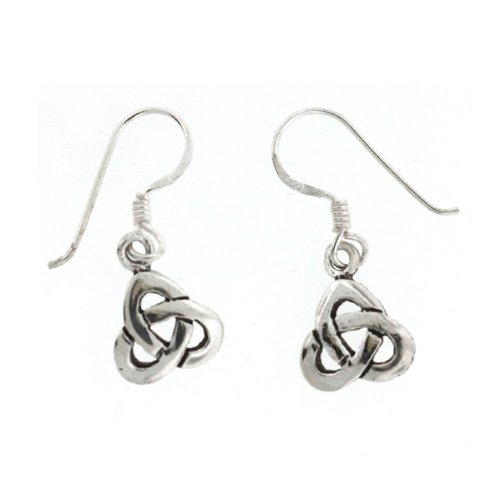 .925 Sterling Silver Nickel Free Holy Trefoil Knot Celtic Trinity French Hook Earrings