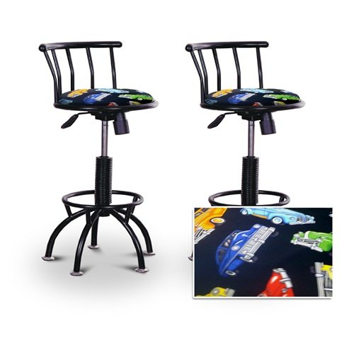 "2 24""-29"" Old Car Oldsmobile Fabric Seat Black Adjustable Specialty / Custom Barstools Set"