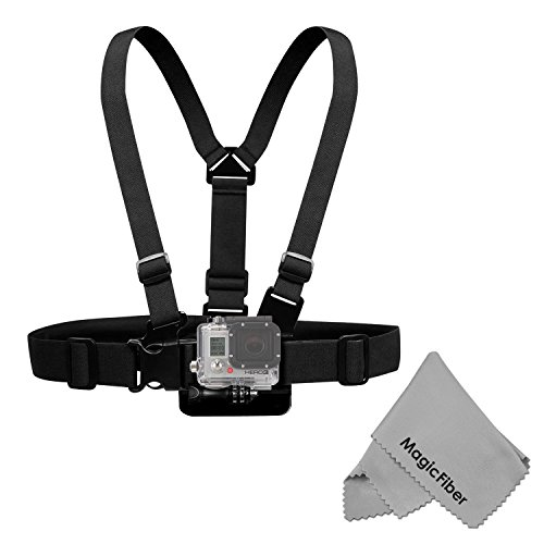 Chest Mount Harness For Gopro Hero4 Hero3+ Hero3 Hero2 & Hero Cameras - Includes: Chest Harness + Mount Extension + Long Screw + Magicfiber Microfiber Cleaning Cloth