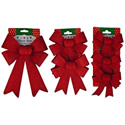Christmas Decoration Holiday Glitter Bows- Red, Green & Gold (Red)