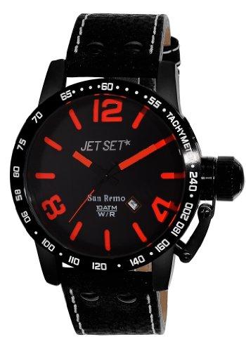 Jet Set J8458B-537 - Reloj analógico de cuarzo para hombre, correa de cuero color negro