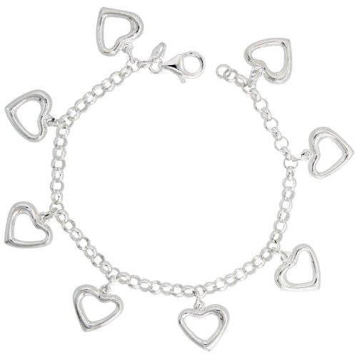 Sterling Silver Pendant Bracelet with Cut-Out Hearts, 11/16