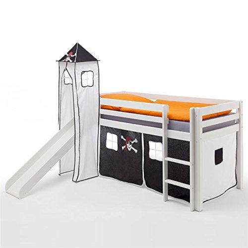 Rutschbett Hochbett Spielbett Bett MAX, Kiefer massiv weiß lackiert, Vorhang und Turm mit Piratenmotiv jetzt bestellen