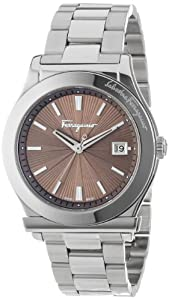 Salvatore Ferragamo Men's FF3050013 1898 Stainless Steel Mink Sunray Dial Date Watch by Salvatore Ferragamo