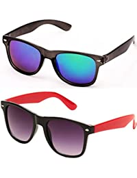 SHEOMY SUNGLASSES COMBO - BLUE MERCURY WAYFARER SUNGLASSES AND BLACK RED WAYFARER SUNGLASSES WITH 2 BOXES - Free...