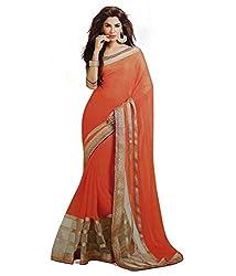 Subhash Sarees Party Wear Salmon Color Chiffon Saree Sari Sarees