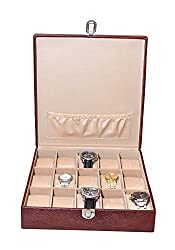 Essart PU Leather Watch Organiser Box for 15watches-B-Cherry-Cherry