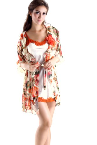 Colorfulworldstore Women's Bohemian Chiffon Pajamas & Silk Dress (2 Set)
