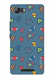 Noise Blue Hearts Printed Cover for Micromax Canvas Spark 2 Q334