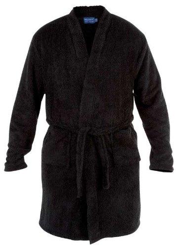 Mens Duke Soft Fluffy Luxury Black Dressing Gown Robe Big Sizes 1XL 2XL 3XL 4XL