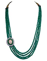4 Rows Of Emerald Gemstone Necklace With Pearl & Emerald Studded Pendant