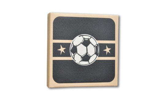 Homeworks Etc Soccer Ball Canvas Wall Art, Black/Tan/White