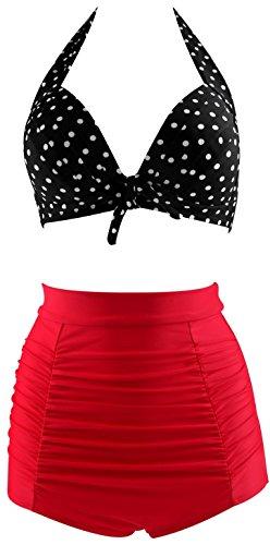 Fitglam 50s Retro Floral High Waisted Bikini Swimsuit for Women Tankini Swimwear Black Top + Red Bottom US 14-16