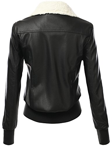 J.TOMSON Women's PU Leather Bomber Jacket With Shearling Standup Collar BLACK M