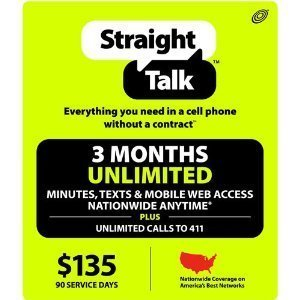 STRAIGHT TALK $135 PREPAID PHONE REFILL TOP UP