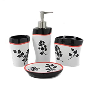 Dream Bath Spring Beauty Bath Ensemble 4 Piece Bathroom Accessories Set Luxury Bath Accessories Bath Set Soap Dispenser/Toothbrush Holder/Tumbler/Soap Dish