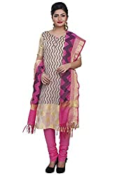 Rajnandini women's Silk Unstitched salwar suit Dress Material ( Beige_Free Size)