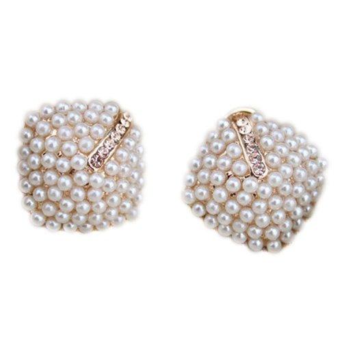 Niceroker Hot Fashion Ol Style Women Stud Earrings Pearl Rhombus Crystal Rhinestone