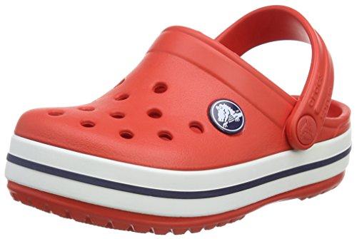 Crocs Crocband Kids, Sabot Unisex Bambini, Rosso (Flame/White), 24/26