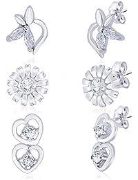 Taraash 925 Silver CZ Double Heart,Floral & Half Floral Earrings Combo CBER194I-001