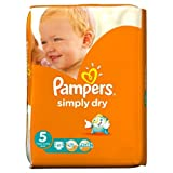 Pampers Simply Dry Nappies Size 5 Large Pack 41 per pack Case of 1