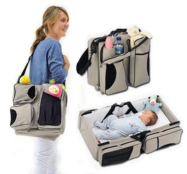 3 in 1 Diaper Bag - Travel Bassinet - Change Station - (Cream) - Multi-purpose #1 Baby Diaper Tote Bag Bed Nappy Infant Carrycot Crib Cot Nursery Portable Change Table Portacrib Boy Girl