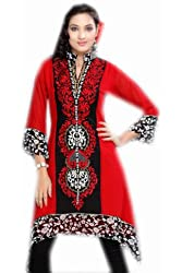 Jayayamala Women Red Georgette Tunic Collar Neck Embroidered Top Party Dress