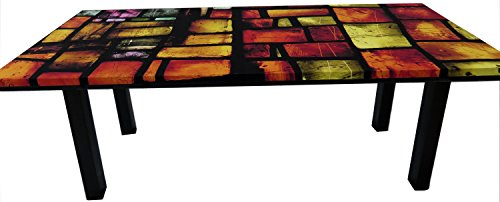 1c4d321ce1f Upholstered Coffee Table Suede Fabric Print Red Stained Glass Pattern