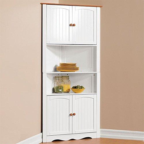 Brylanehome Country Kitchen Corner Cabinet (White Honey) (Kitchen Hutch Corner compare prices)
