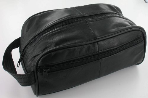 Men's Black Leather Toiletry Bag/Men's Wash Bag (WB3)