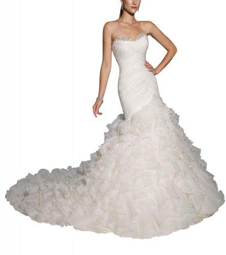 GEORGE BRIDE Formal Strapless Organza Court Train Wedding Dress Size 10 White