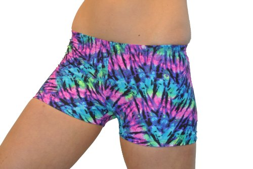 Neon Tie Dye Spandex Shorts (4 In. Adult S 4-6, Neon Tie Dye) Dye Volleyball Spandex