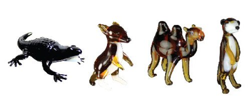 Looking Glass Miniature Collectible - Alligator / Kangaroo / Camel / Meerkat (4-Pack)