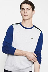 Cotton Jersey Crewneck Color Block Sweater