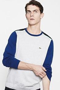 Cotton Jersey Crewneck Color Block Sweater