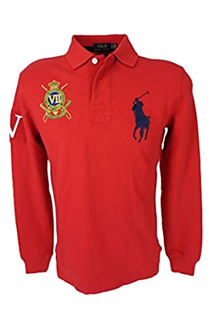 Polo Ralph Lauren Men's Custom Fit Big Pony Crest Logo Polo Shirt, Red, Small