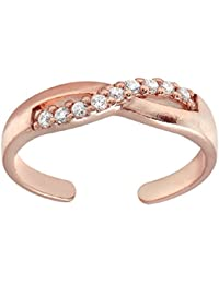 RG Jewellery 14k Rose Gold Plated 925 Sterling Silver Infinity Crossover Cubic Zirconia Toe Ring