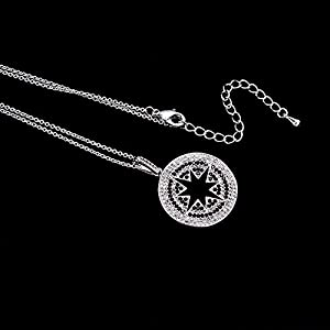 "The Starry Night White Zircon Accented Eight Pointed David Star 17.72"" Silver Necklace Female Jewelry"