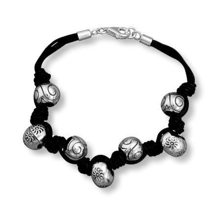 Sun Bead Bracelet Multistrand Black and Sterling Silver
