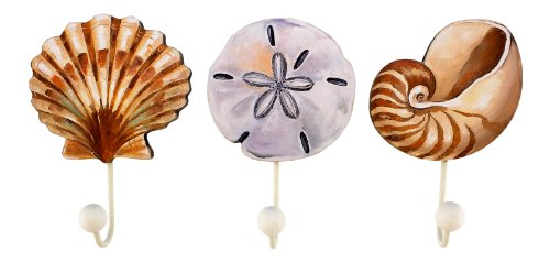 Set of Three Assorted Wood Shell Design Wall Hooks Scallop,
