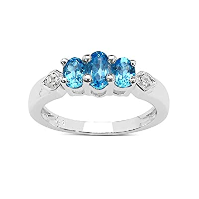 The Blue Topaz Ring Collection: Sterling Silver Blue Topaz 3 Stone Engagement Ring with White Topaz Set Shoulders.