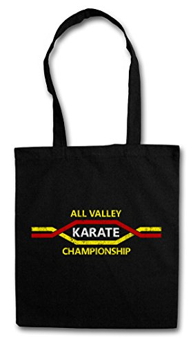 ALL VALLEY KARATE CHAMPIONSHIP Hipster Shopping Cotton Bag Borse riutilizzabili per la spesa - Per movie vincere domani Kid Tournament Logo Sign Martial Arts Kung Fu Karate Akido Takewondo Tai Chi Kickboxing Champion Fighter