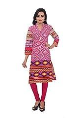 KIMYRAA Women's Cotton Kurta (KLK-1012-PINK-L)