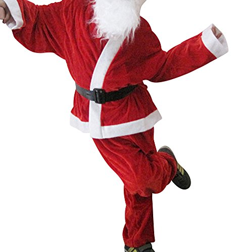 YS Boy's Christmas Santa Claus Costume Jacket+Pant Suits with Hat beard Belt Red